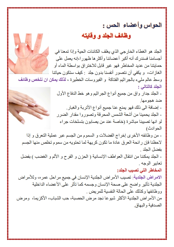 الحواس و اعضاء الحس وظائف الجلد و وقايته موقع مدرستي كوم_001