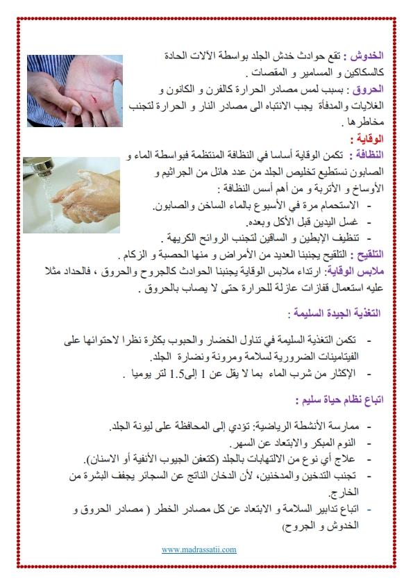 الحواس و اعضاء الحس وظائف الجلد و وقايته موقع مدرستي كوم_002