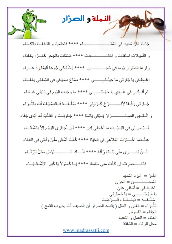 محفوظات قصيدة الصرار و النملة موقع مدرستي كوم_001