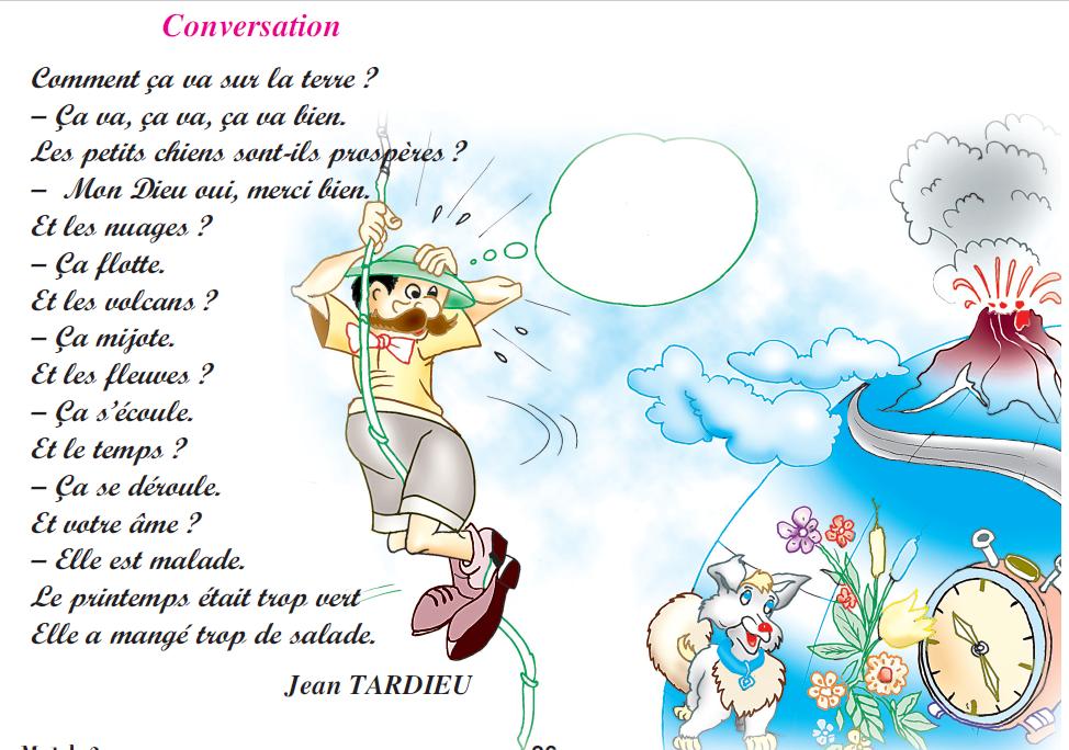 Poème Conversation livre de lecture 6 ème