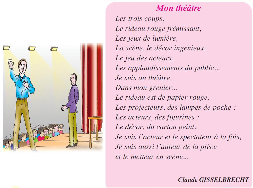 Poème Mon théâtre livre de lecture 5 ème