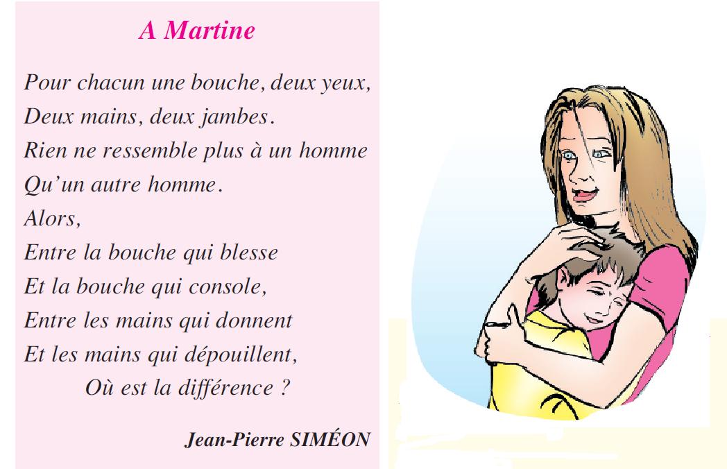 Poème a Martine livre de 5 ème