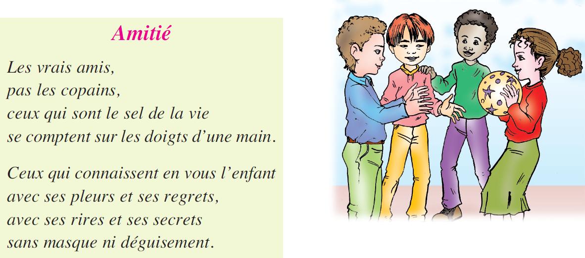 Poème amitié livre de lecture 5 ème