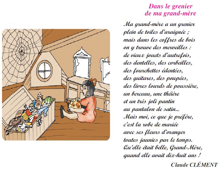 صورة Poème dans le grenier de ma grand-mère livre de lecture 6 ème