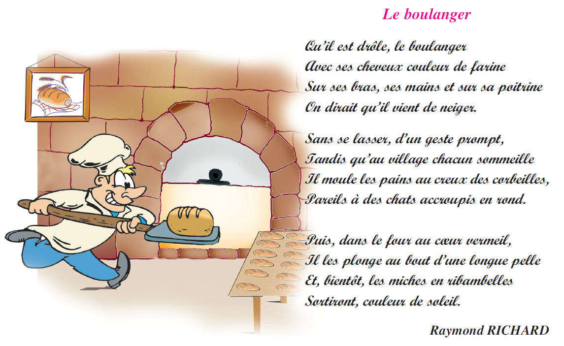 Poème le boulanger livre de lecture 6 ème