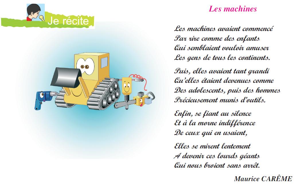 Photo of Poème les machines livre de 6 ème