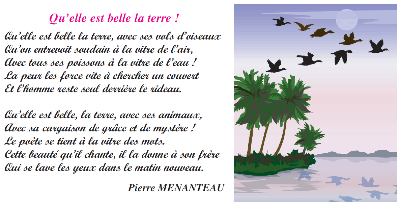 صورة Poème qu'elle est belle la terre livre de 6 ème