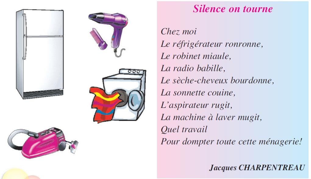 Poème silence on tourne livre de 5 ème
