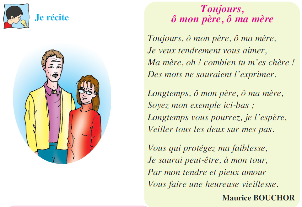 صورة Poème Toujours, ô mon père, ô ma mère livre de 5 ème