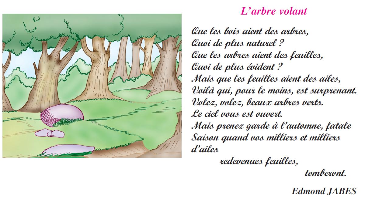 Poème l'arbre volant livre de lecture 6 ème