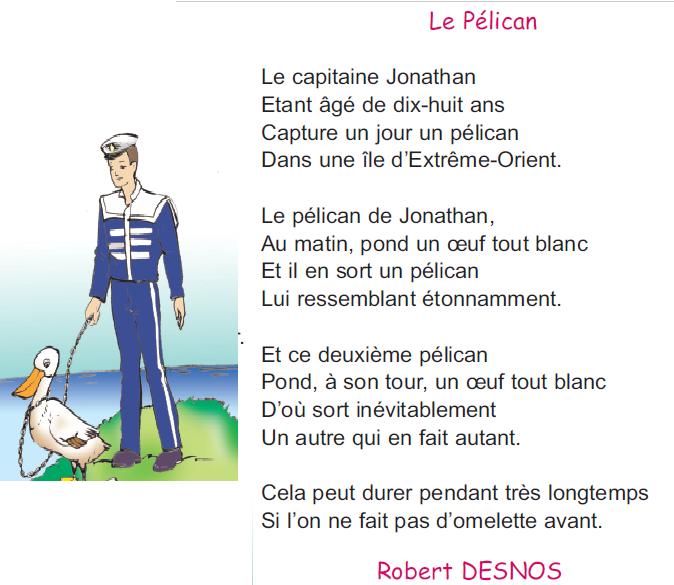 Poème Le Pélican Livre De 4 ème Année موقع مدرستي