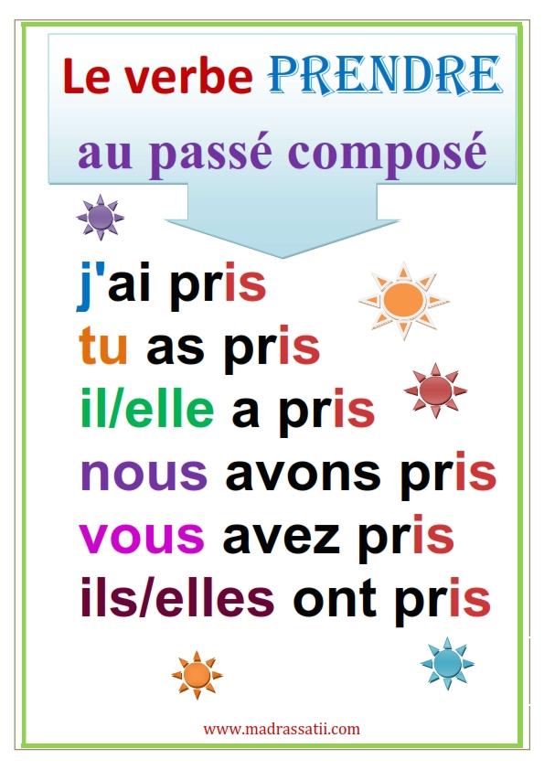 Les Verbes Prendre Et Mettre Au Passe Compose موقع مدرستي