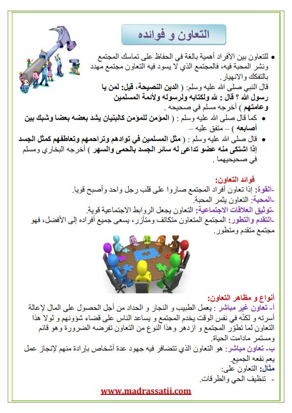 التعاون مظاهره و فوائده موقع مدرستي