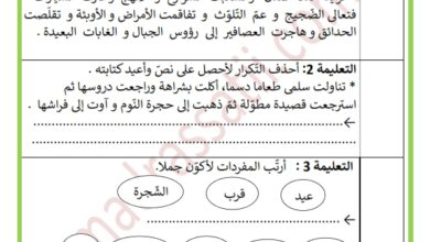 صورة تقييم في مادة اللغة العربية السنة الثالثة السداسي الاول