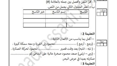 صورة تقييم السداسي الثاني في قواعد اللغة السنة الرابعة