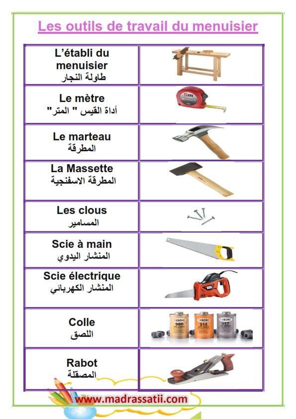 les outils de travail de menuisier arabe et fran ais. Black Bedroom Furniture Sets. Home Design Ideas
