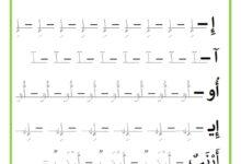 صورة مراجعة يومية للحروف – تمارين خط : حرف الألف