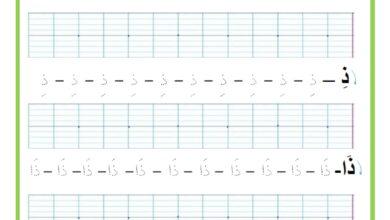 Photo of المراجعة اليومية للحروف ( ملف رقم 17 ) : حرف الذال – تمارين خط