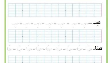 Photo of المراجعة اليومية للحروف ( ملف رقم 20 ) : حرف الصاد – تمارين خط