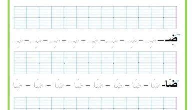 Photo of المراجعة اليومية للحروف ( ملف رقم 22) : حرف الضاد – تمارين خط