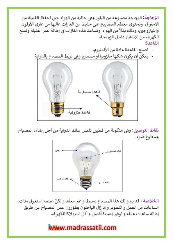 الكهرباء : أجزاء المصباح الكهربائي - موقع مدرستي