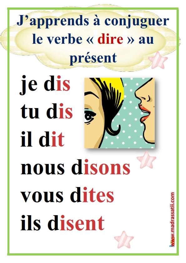 J Apprends A Conjuguer Les Verbes Lire Ecrire Et Dire Au Present موقع مدرستي