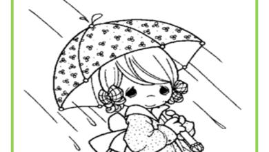 صورة تلوين صور فصل الشتاء المطر