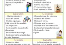 صورة Expressions sur les métiers : médecin – menuisier – journaliste – couturière – instituteur et plombier