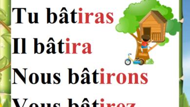 صورة Conjugaison du verbe bâtir au présent passé composé et futur – Affichage 6 ème année